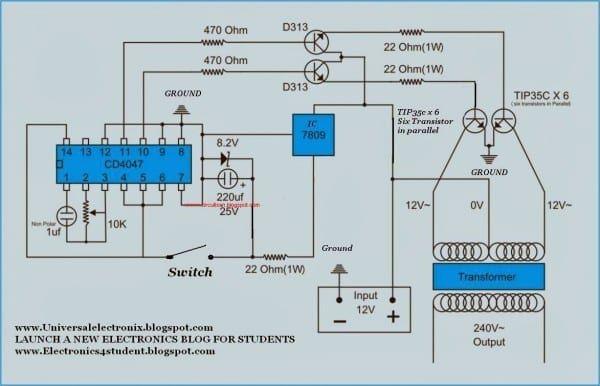 Simple 500 Watt Inverter Circuit Diagram in 2019 Circuit