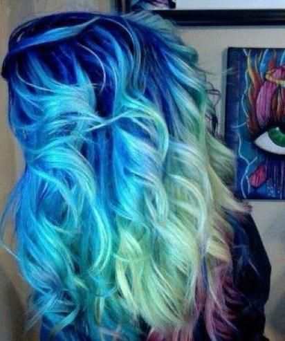 blue ombre. I would never personally dye my hair like this, but I think if someone could pull it off it would be really cool!!!