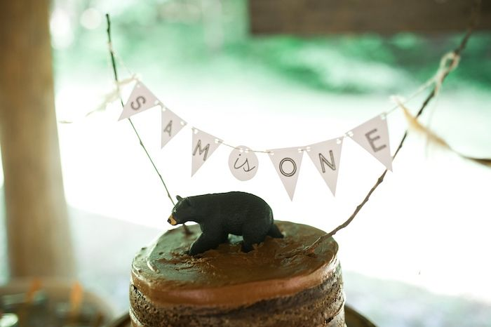 Cake toppers from a Grizzly Bear Man Cub 1st Birthday Party on Kara's Party Ideas | KarasPartyIdeas.com (37)