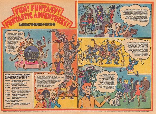 1970 CBS Saturday Morning Cartoons Advertisement, in Comic Books, featuring: Josie and the Pussycats, Sabrina and the Groovie Goolies, Harlem Globetrotters, Archie's and Funhouse.