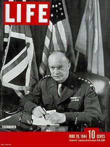 Cover of the June 19, 1944 issue of Life with Gen. Dwight D. Eisenhower. The issue contained 10 frames from the Normandy landing by Robert Capa.