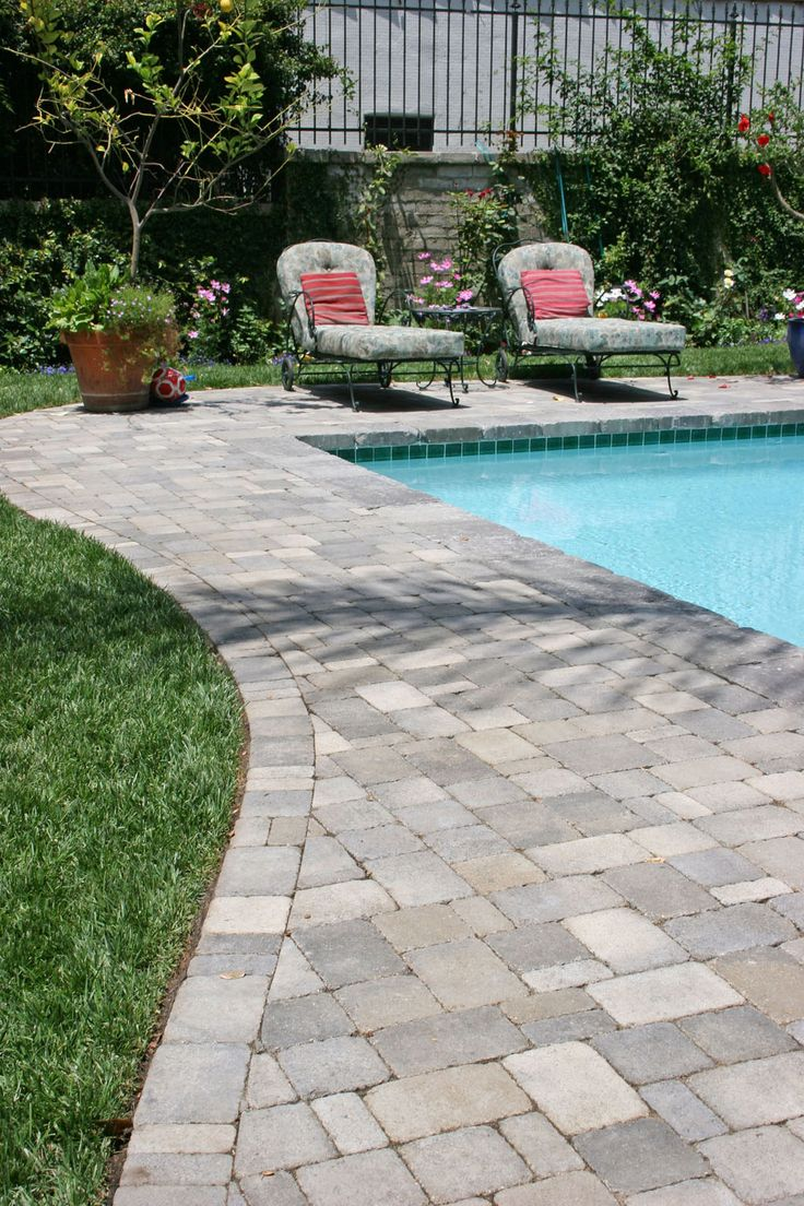 swimming pool decks with stone and pavers:beauteous landscape deck ...