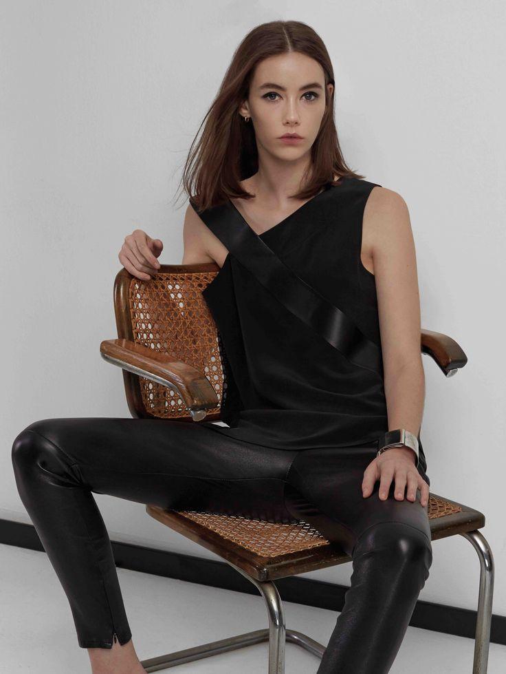 Sankt's Leather Strap Silk Blouse #silk #leather #detail #chiffon #FW16 #sankt #wearesankt #evening #chic #elegant #minimalist