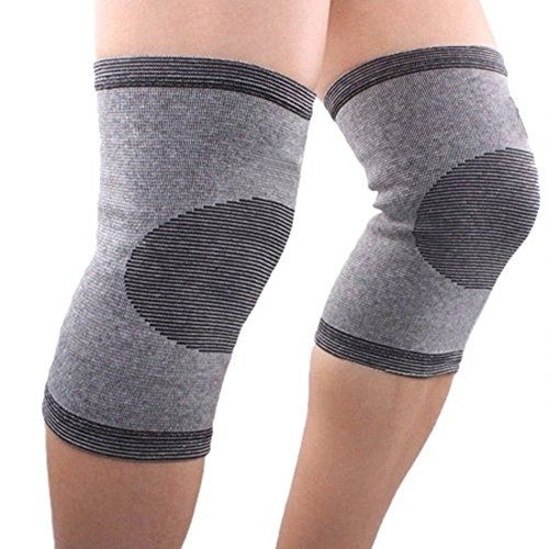 Flammi Bamboo Charcoal Knee Support Elastic Compression Sleeve for Jogging, Joint Pain Relief (Pair)