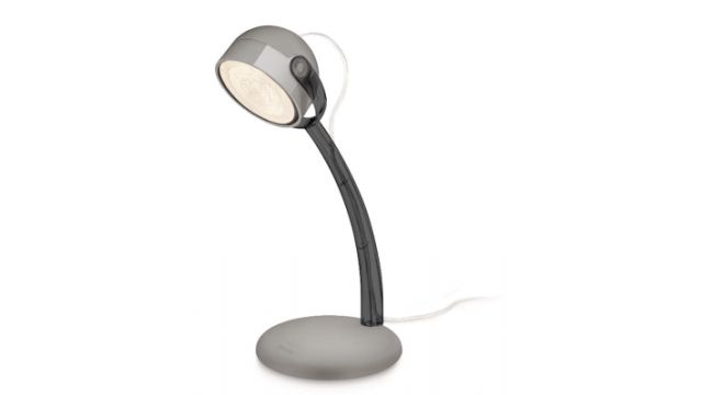 Philips MYL Dyna LED-Tischl. 1x4W Lampen  Deze leuke Dyna LED-bureaulamp met zwarte accenten heeft een speelse vormgeving die uw werkplek zal opfleuren. Ideaal voor werk en studie door de draaibare kop en het heldere effen licht van de hoogwaardige LED's.  Ontworpen voor uw huiskamer en slaapkamer  Duurzame verlichting  Speciale kenmerken  Gewicht en omvang  Hoogte: 269 mm  Breedte: 163 mm  Gewicht: 292 g  Breedte verpakking: 93 cm  Hoogte verpakking: 298 cm  Gewicht verpakking: 424 g…