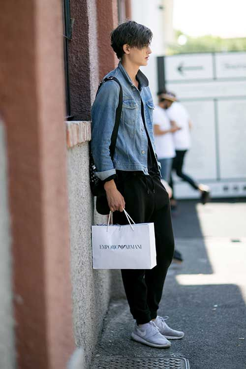 Gジャン×黒スウェットパンツ×Nikeローシラングレー | メンズファッションスナップ フリーク | 着こなしNo:116688