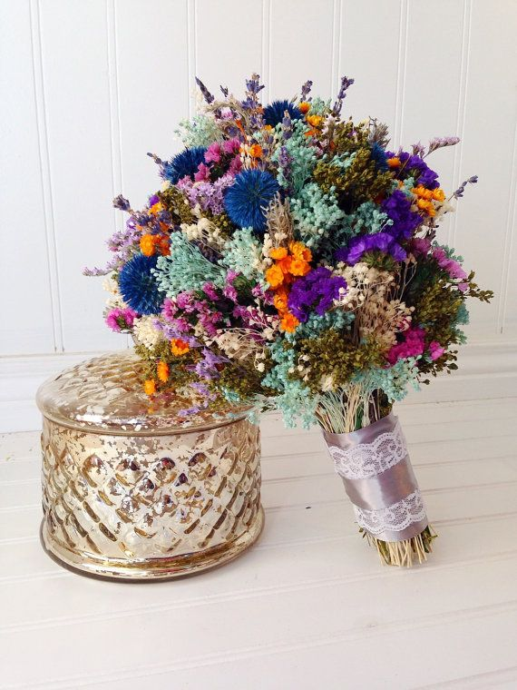 Dried large wildflower bridal bouquet by Knot2ShabbyDesigns