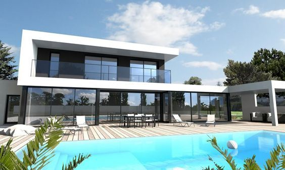 Maison ultra moderne noir et blanc Nantes   2hisa   House design ...