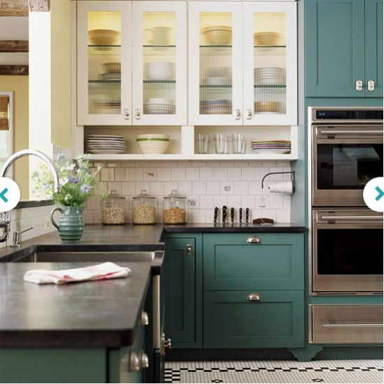 Love this kitchen idea - glass front & white cabinets on top. Color on bottom.