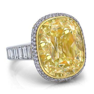 Cushion Cut Yellow Diamond Ring #jewelry #finejewelry #diamonds…