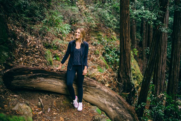 Gal Meets Glam Hiking In Muir Woods Wearing Express Jacket Tank Exp Core Leggings And Nike