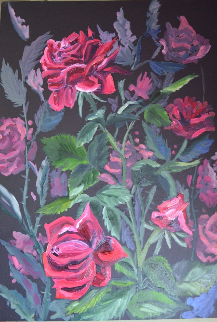 Кристина Фролова. Розы.Этюд маслом с натуры.