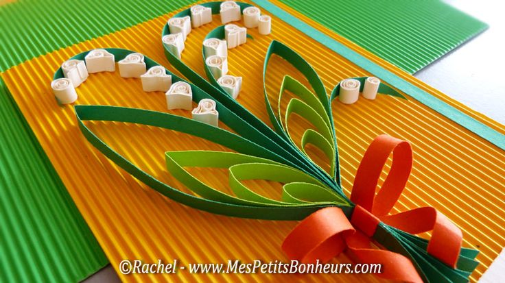 quilled lily of the valley - carte muguet en quilling