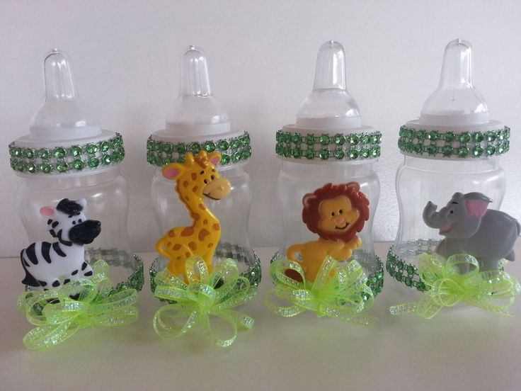 12 Fillable Bottles Baby Shower Favors Prizes Games Safari Jungle Noah's Animals #BabyShowerPartySupplies #BabyShower