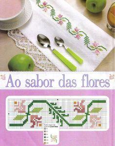 Χειροτεχνήματα: στενές μπορντούρες με λουλούδια σταυροβελονιά / narrow cross stitch flower borders