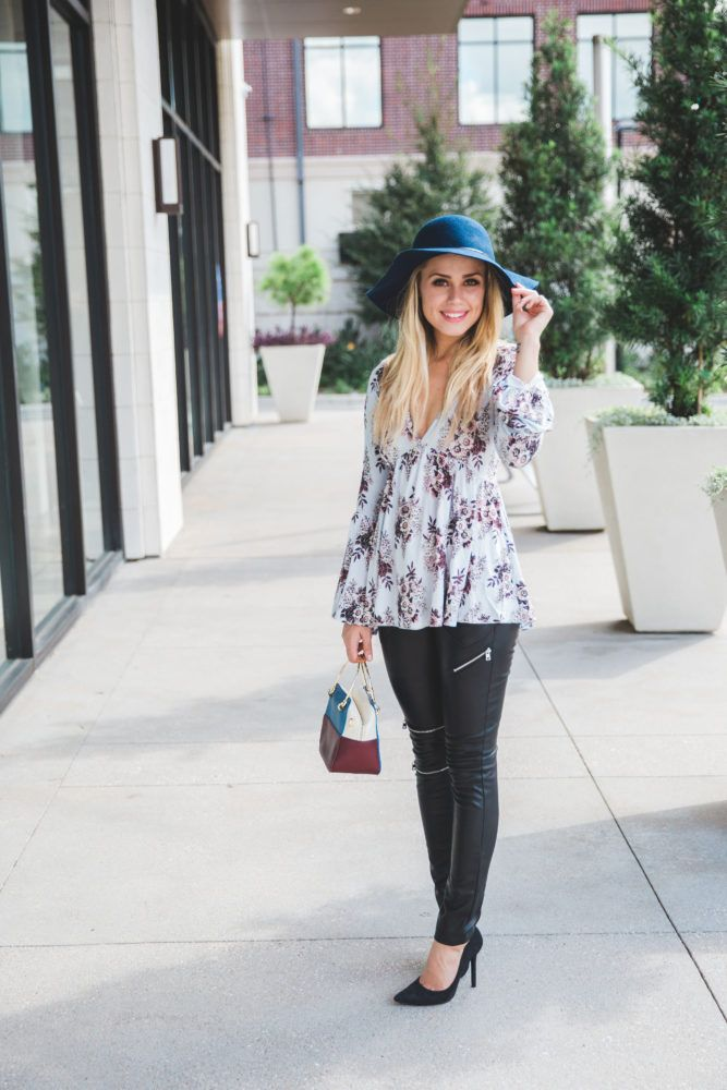 floral top | Faux Leather Pants | Motto pants | Uptown with Elly Brown