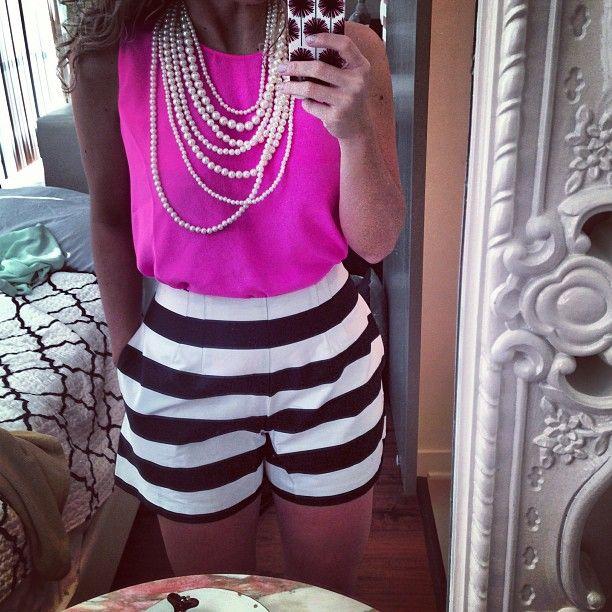#stripes #pink #pearls  hot fuchsia pink + black stripes