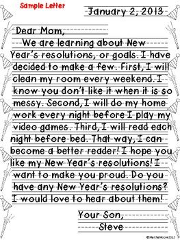 FREE What a better way to talk about the New Year than to let your students make their own New Year's Resolution, or goal!    Student will practice their friendly letter writing skills and will make New Year's resolutions for the coming year. They can write to a friend, parent, or even to themselves!