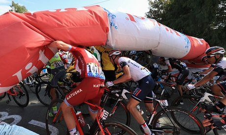 Tour de France 2016: Steve Cummings pulls off solo break to win S7 & inflatable arch collapses on riders. | Sport | The Guardian