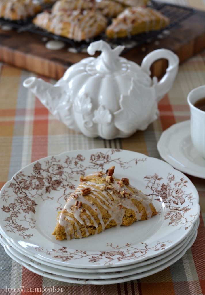 Pumpkin Scones with Maple Glaze and Pecans | homeiswheretheboatis.net #tea #fall #recipe