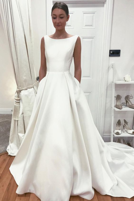 Sleeveless Satin Bride Dress with Pockets vestido de noiva 2020