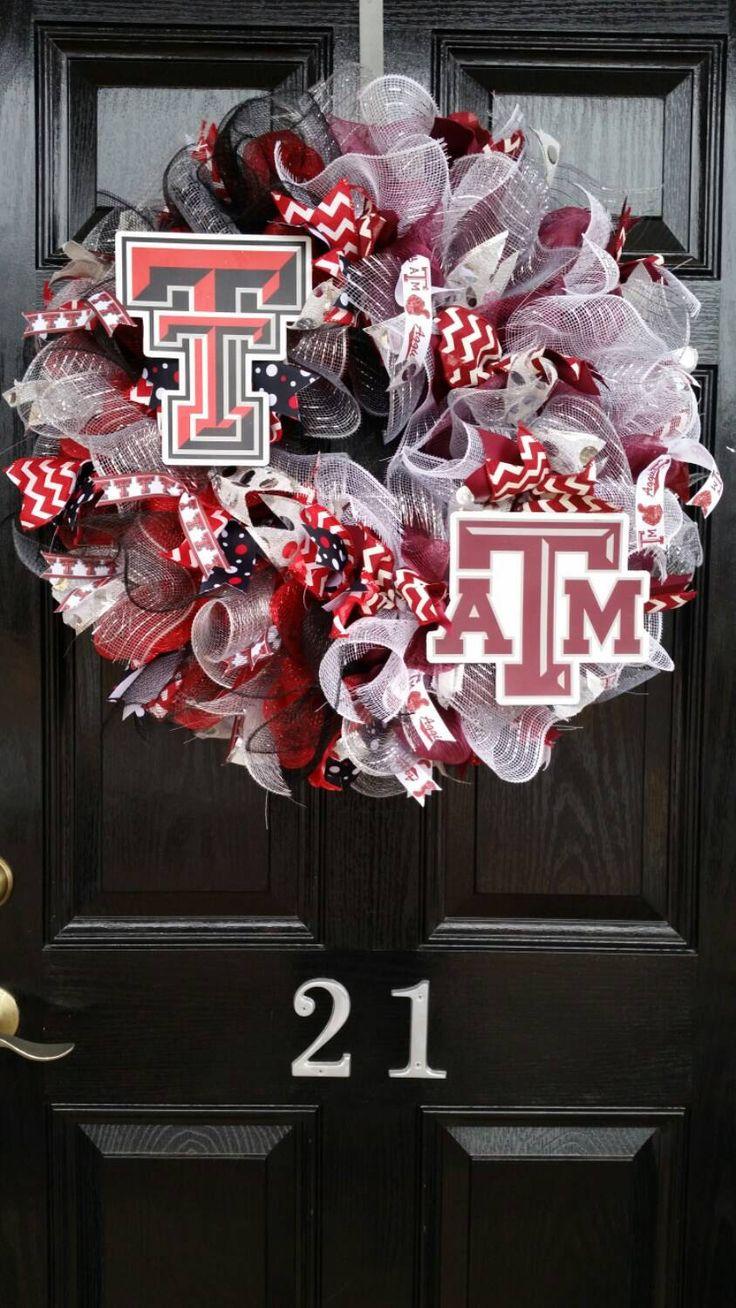 HOUSE DIVIDED Mesh Wreath Texas A&M Texas Tech College Team Football Basketball Baseball Collegiate Mesh Ribbon by DesignTwentyNineSC on Etsy https://www.etsy.com/listing/218383702/house-divided-mesh-wreath-texas-am-texas