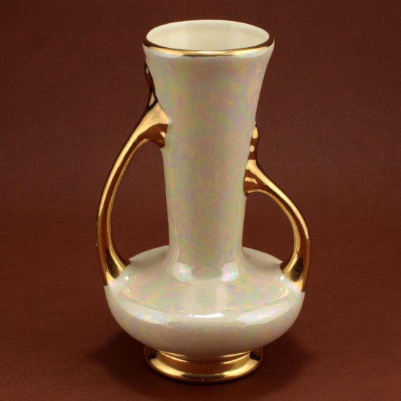 Gold Iridescent Pearl China Vase 2 Handles Vtg By Charmings Charmings Vintage Glass