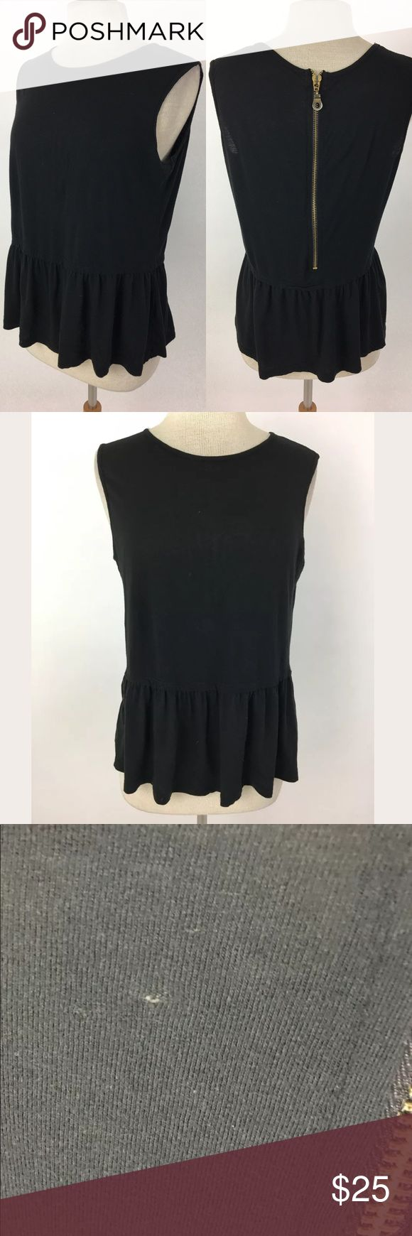 Zara top This has a few very tiny pinholes scattered around. They're minuscule and not obvious at all.  Bust: 38 Shoulder to hem: 23.5  87% cotton, 13% polyester.  Item: 900 Zara Tops Tank Tops