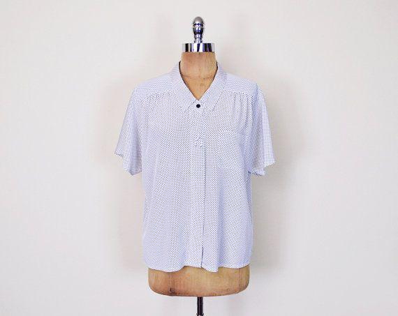 #Vintage Black & White Polka Dot #Blouse Shirt Top Polka Dot Print Blouse #Dolman Sleeve Blouse #Oversize Blouse #Secretary Blouse #80s M Medium L Large #PolkaDot #DolmanSleeve #Batwing #BatwingSleeve #Slouchy #Oversized #Etsy #EtsyVintage #TrashyVintage @Etsy $28.00
