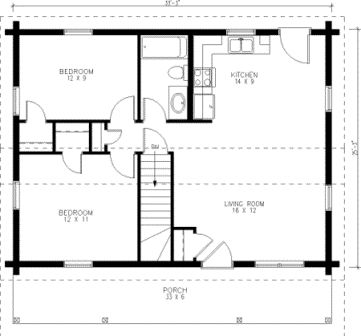 Tiny House Single Floor Plans 2 Bedrooms Small Kit