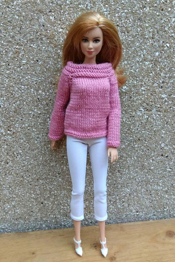 Barbie doll clothes. Hand-knitted radiant orchid sweater &