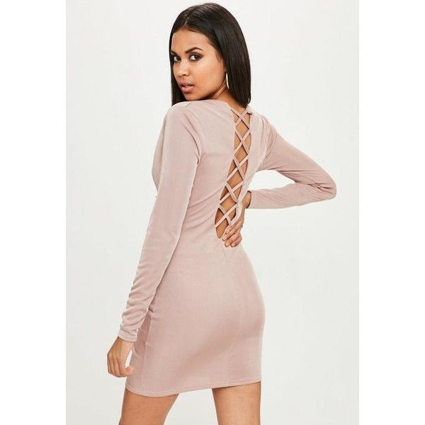 Missguided Nude High neck Bodycon Dress ($31) ❤ liked on Polyvore featuring dresses, purple, long-sleeve midi dresses, bodycon cocktail dresses, long sleeve bodycon dress, long sleeve dress and midi dress