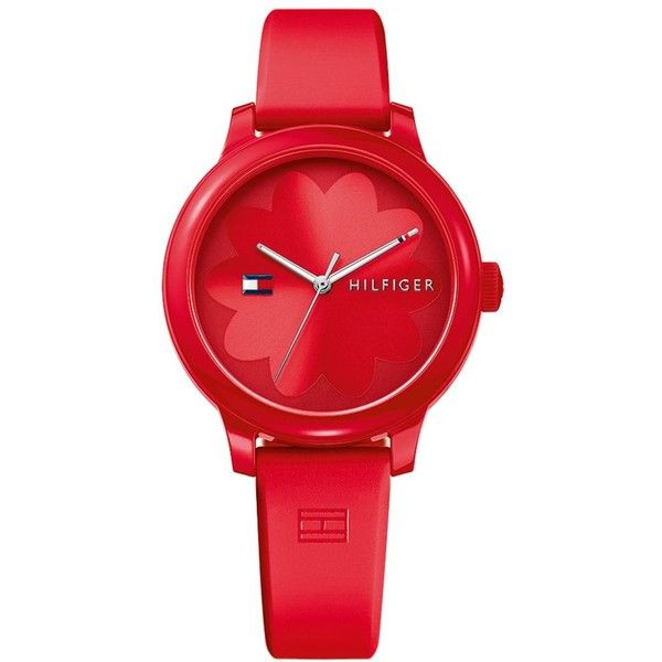 Tommy Hilfiger Women's Red Silicone Strap Watch 38mm ($65) ❤ liked on Polyvore featuring jewelry, watches, accessories, red, red watches, tommy hilfiger, silicone strap watches, dial watches and tommy hilfiger jewelry
