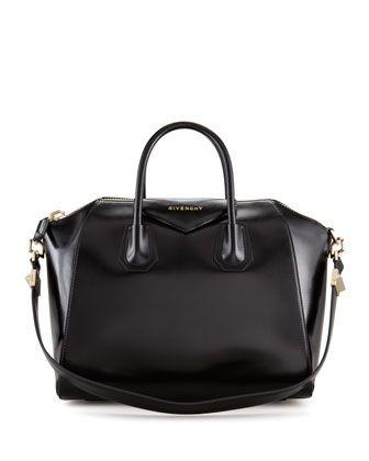 Antigona Medium Leather Satchel Bag, Black by Givenchy at Neiman Marcus.