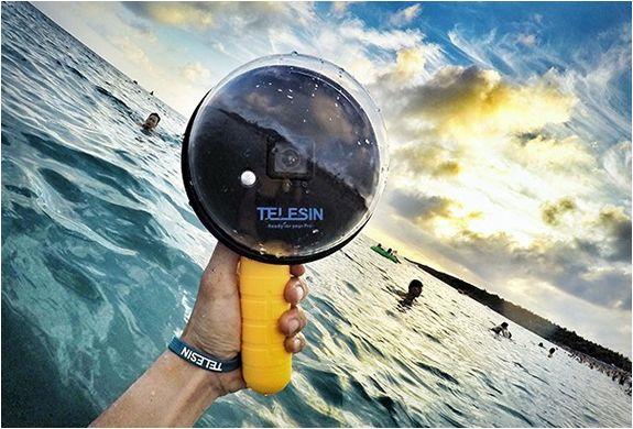 Especificamente projetada para a fotografia subaquática de GoPro, esta Cúpula Subaquática utiliza uma cápsula protetora personalizada de acrílico, em formato semi-hemisférico, que tem sido combinada com as lentes da GoPro para traba