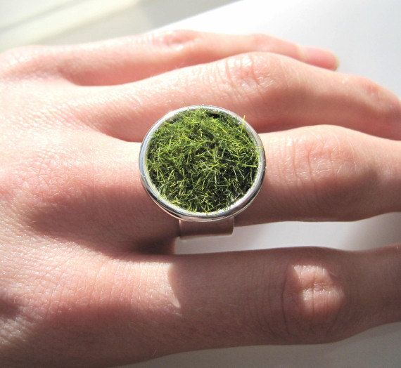 Lush+Green+Grass+Round+Silver+Ring+Wide+by+SeahagAndWalrus+on+Etsy,+$28.00