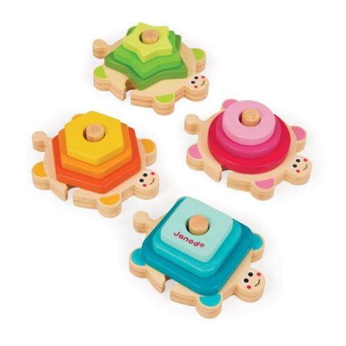 Ces tortues en bois à empiler initient vos enfants aux formes et aux couleurs de manière ludique. C'est un formidable jouet pour développer l'éveil et la motricité fine des enfants. Votre enfant découvrira les formes et les couleurs en plaçant les 12 pièces sur ces tortues en les empilant. Les 4 tortues s'assemblent comme un puzzle, votre enfant va donc s'amuser à les placer dans des sens différents et cela renouvellera le jeu à chaque fois.