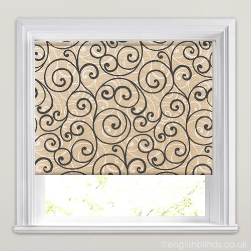 Swirly Black on Beige Printed Roller Blinds - Wide