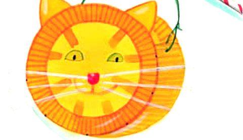 Basteln mit Papptellern: Katzenlaterne