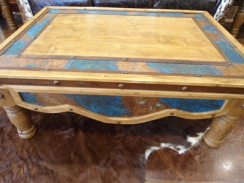 Rustic Furniture   Turquoise & Copper Coffee Table (Custom Sizes Available)   Cierra Interiors