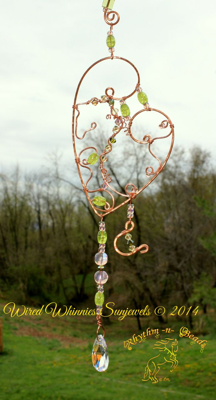 ~Wired Whinnies Sunjewels ~ by Rhythm-n-Beads TM are whimsical copper wire horse Suncatchers....lovingly hand fashioned from copper wire and accented with beads & charms. Hang your 'wired whinnies' ... * in a window *from a rear view mirror * from a lamp * in the tack room * on the Christmas tree or a wreath during the holidays, or......the possibilities are endless :) Wire Horse Suncatchers, Rearview Mirror Dangles, Horse Ornaments  www.facebook.com/rhythmbeads