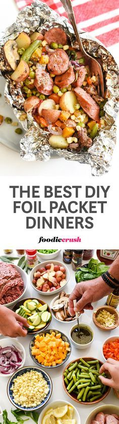 Cooking an entire dinner in a simple foil packet is every cook's dream. Everyone can choose their own ingredients and there's minimal clean-up afterward. | foodiecrush.com #foildinner #hobodinner #campingmeals