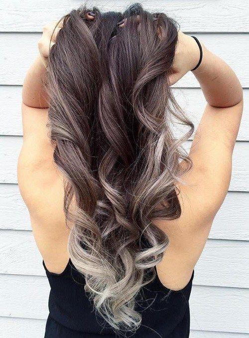 silver+balayage+for+brown+hair