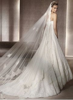 A-Line/Princess Strapless Court Train Lace Wedding Dress With Sash Bow(s)