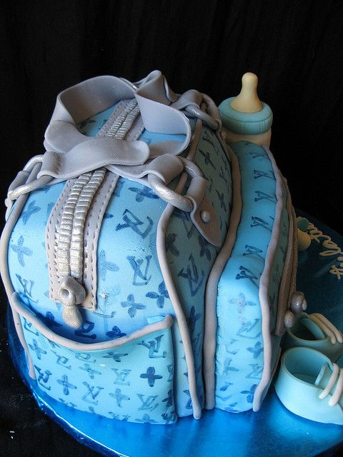 Louis Vuitton diaper bag baby shower cake