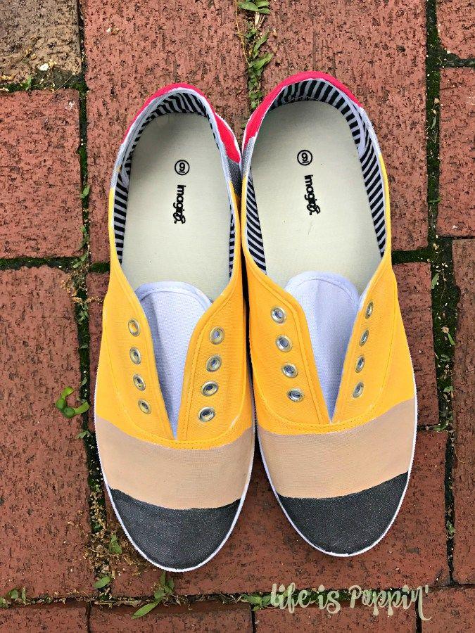 330ab99346f02 Teacher Gift Idea - Pencil Painted Canvas Shoes | Teacher Attire ...