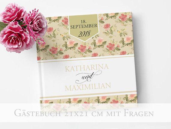 Hochzeit Gastebuch Romantic Garden Mit Fragen Etsy Gastebuch Hochzeit Gastebuch Hochzeit