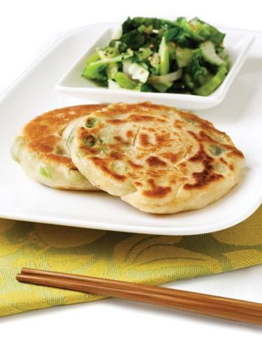 Asian Scallion Coconut Pancakes & Ginger Sesame Greens vegan, plantbased, earth balance,