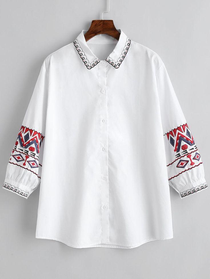 Ethnic Geometric Embroidery Plus Size Shirt