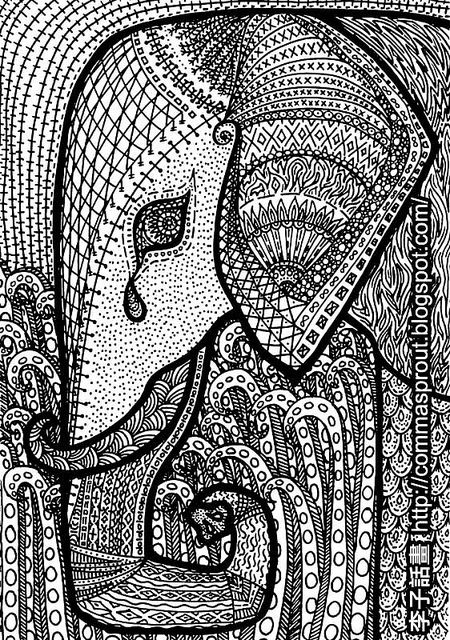 African Pattern - Elephant (by Comma Sprout) 李子話畫 非洲圖騰 大象 by CommaSprout, via Flickr